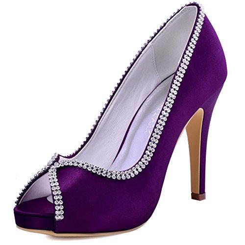 - ElegantPark EP11083 Women Pumps Peep Toe Rhinestones Platform High Heel Satin Evening Prom Wedding Dress Shoes Purple US 9