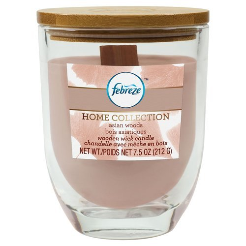 Febreze Home Collection Wooden Wick Candle, Asian Woods, 7.5oz