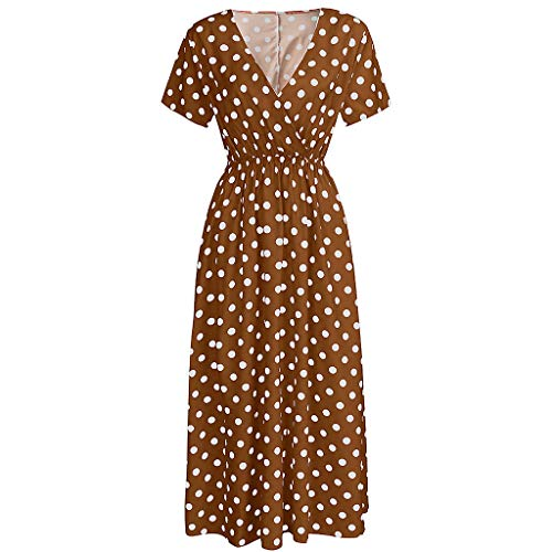 Summer Women Dress, Bohemian Casual Sexy Dot Print High Waist V Neck Short Sleeve Ankle-Length Dress