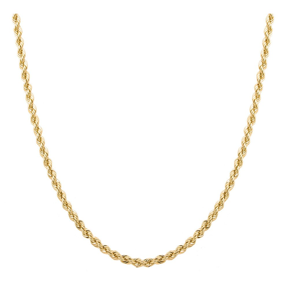 Sterling Silver 2mm diamond cut rope chain necklace in 18k gold plating-24 inches