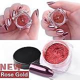 Kemilove 2g/Box Gold Sliver Nail Glitter Powder Shinning Nail Mirror Powder (Rose Gold)