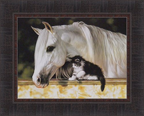 (Making Friends by Lesley Harrison 17x21 White Horse Pony Tuxedo Cat Kitten Framed Art Print Wall Décor Picture)