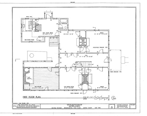 - Historic Pictoric Blueprint Diagram HABS NY,52-BRIG,3- (Sheet 3 of 11) - Sayrelands, Montauk Highway, Bridgehampton, Suffolk County, NY 44in x 32in