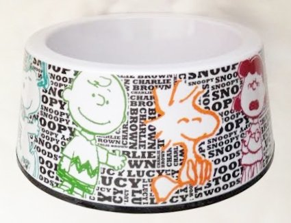 lie Brown, Lucy, & Woodstock Dog Food Bowl - 100% Heavy Melamine (7