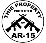 1 Pc Leading Fashionable This Property Protected by AR-15 Stickers Sign Security Assault Rifle Anti-Burglar Size 4