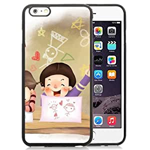 6 Plus Phone cases, Drawing Children Childhood Fantasy Laughter Black iPhone 6 Plus 5.5 inch TPU cell phone case