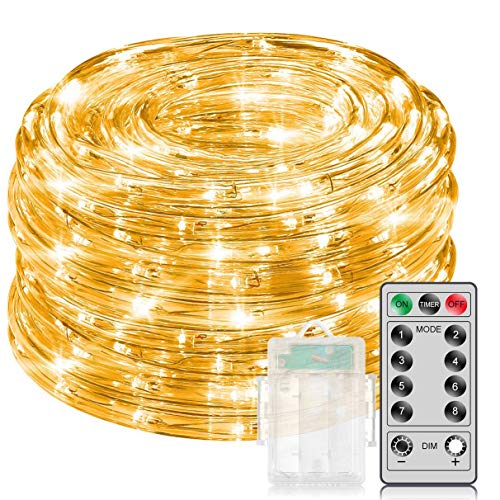 MINGER 33Ft Warm White Rope Lights with Remote Control, Dimmable Fairy Lights Waterproof 8 Mode/Timer Copper Wire String Lights for Christmas, Holiday, Party, Decoration, Battery Powered