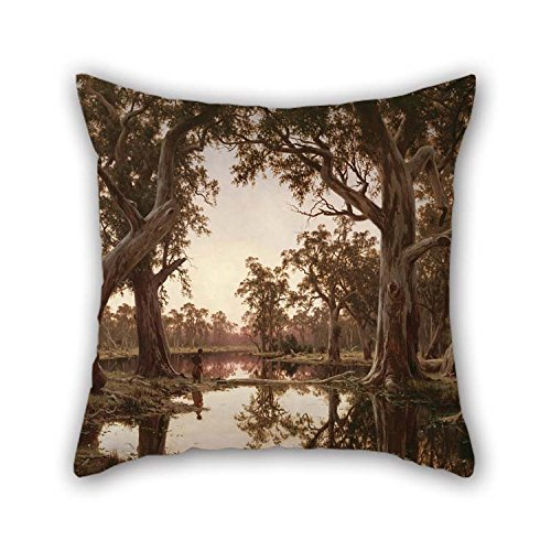 Oil Painting H J. Johnstone - Evening Shadows, Backwater Of The Murray, South Australia Pillowcase 20 X 20 Inches / 50 By 50 Cm Best Choice For Couch Birthday Play - Murray Fashion Place