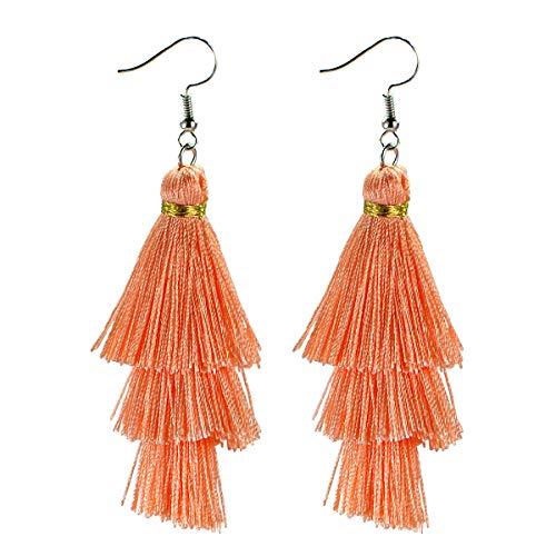 - AD Beads Fashion Charm Crystal Silk Tassel 3 Layers Fan Fringe Dangle Earrings (14 Peach)