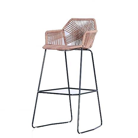 Amazon.com: LRZS-Furniture Wicker Chair High Table and Chairs Outdoor Bar Table and Chairs Bar Stool Bar Front Desk Chair Rattan High Chair Leisure Balcony ...