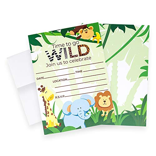Discount Party Invitations (Safari Invitations (Quantity of 20), Birthday Party, Larger Sized with Vivid Colors, Jungle Party Supplies, Monkey, Lion, Giraffe, Elephant Envelopes)