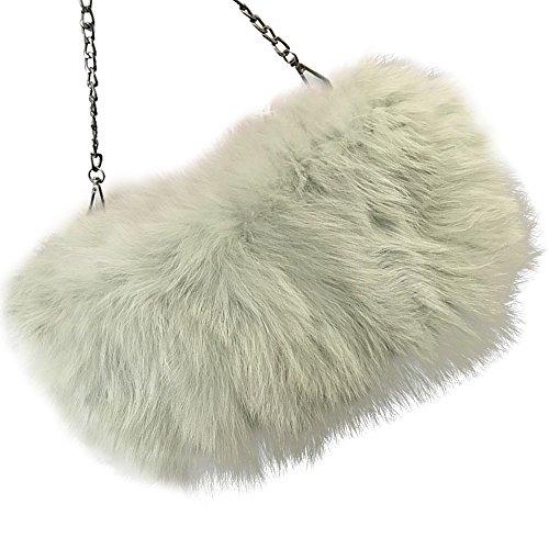 Shoulder clutch Womens' Evening Bag Feather Fur Mint Lady Handbag Yu Fluffy Purse Green Real He 4qwqpBz