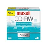 Maxell 10-Pack 700MB 80 Minute CDRW Case 630011