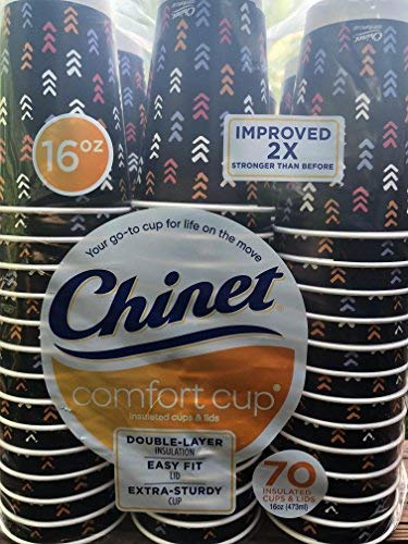 Chinet Comfort Cups with Lids, 16 oz, 70 ct