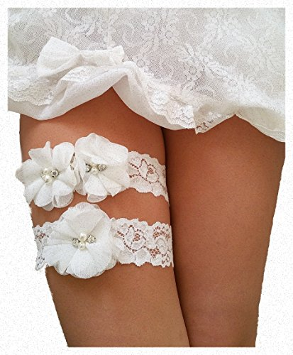 Lauren Annabelle Studio Ivory Wedding Keepsake Toss Garters Lace Vintage White Bridal Prom - Set of 2, 16 inches / 15 inches