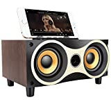 Desktop Portable Wooden Wireless Speaker Subwoofer Stero Bluetooth Speakers Support TF MP3 Player with FM Radio, Phone Holder for iPhone Android