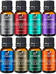 ArtNaturals Signature Blend Essential Oils Set - (8 x 10ml) - 100% Pure of The Highest Quality Oil for Diffuser - Therapeutic Grade - Recommended Aromatherapy Gift Set for Anxiety, Sleep and Relaxing