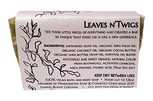 WATERFALL GLEN SOAP COMPANY - Leaves n'Twigs, patchouli & sweet orange, random pattern, bath soap with shea butter 5.8oz.