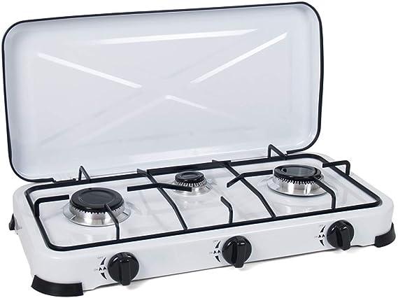 Cocina de Gas portatil 3 Fuegos Camping terraza Jardin para propano y butano