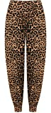WearAll Women's Plus Size Leopard Animal Print Hareem Ladies Trousers Pants - Brown - US 16-18 (UK 20-22)