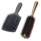Best Hairbrush for Thick Hair Boar Bristle Round and Massage Paddle Hair Brush Set,Preventing Breakage,Damage Split Ends,Detangler Brushes for Wet or Dry Hair,Fairyland Best Styling Curling Tool for Men,Women