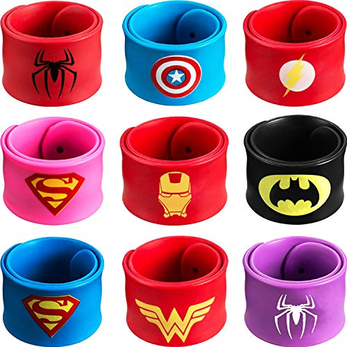 Superhero Slap Bracelet – Superhero Bracelet - Kids Party Supplies - Party Favors for Kids - Boys Birthday Party Supplies – 9 Pack Wristband Accessories ()