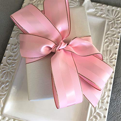 Pink Grosgrain Ribbon with Rose Gold Trim, 1 1/2 Inch, 10 Yards, Double Face, 1.5 Inch, Finely Woven Premium Fabric Ribbon with Metal Border for Gifts, Party Favors, Baby Showers, Crafts, Weddings -