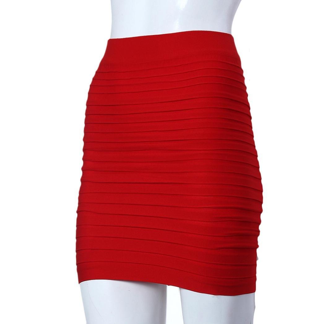 f9659cc4ed4d ESAILQ Skirts, Womens Elastic Pleated High Waist Package Hip Short Skirt:  Amazon.co.uk: Clothing