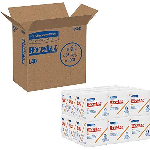 WypAll 05701 L40 Cloth-Like 1/4-Fold Wipers, 12-1/2 x 12, 56/Pack, 18 Pks/Carton