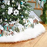 36Inch Christmas Tree Skirt, Classic Christmas Plush Tree Skirt White Faux Fur, Double Layer Design Xmas Holiday Decorations Year Party AMAES