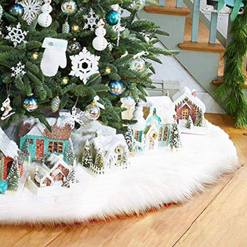 AMAES 36Inch Christmas Tree Skirt, Classic Christmas Plush Tree Skirt with White Faux Fur, Double Layer Design for Xmas Holiday Decorations New Year Party