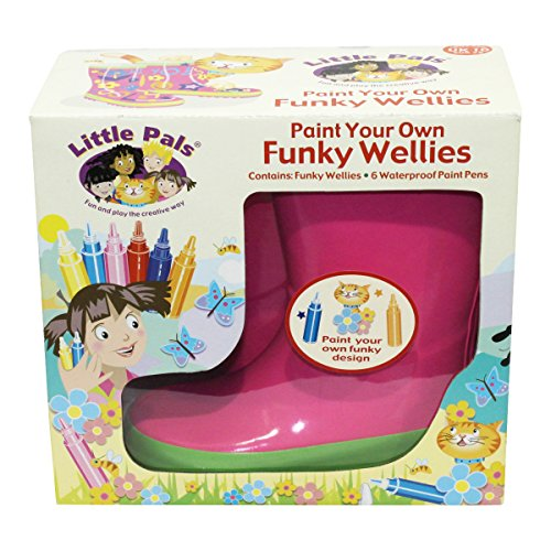 Tierra Garden 7-LP416 Little Pals Kids Paint Your Own Funky Wellies, Pink with Green Trim, Size Large US 13.5