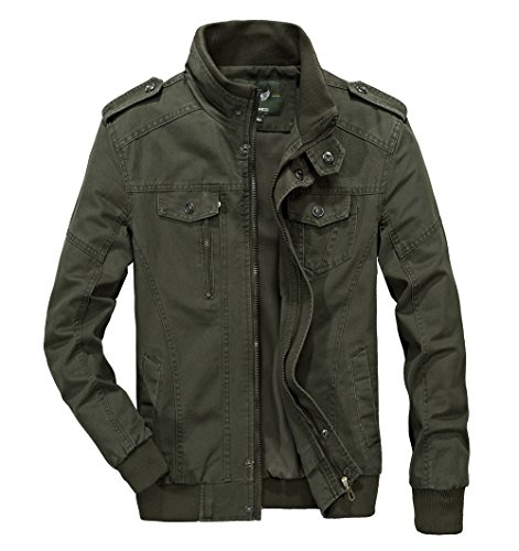 RongYue Men's Casual Cotton Military Jacket Outdoor Coat with Shoulder Straps Army Green