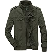 RongYue Men's Cotton Stand Collar Lightweight Military Windbreaker Jacket