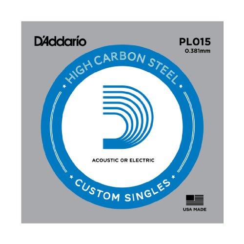 UPC 019954211134, D'Addario PL015 Plain Steel Guitar Single String, .015