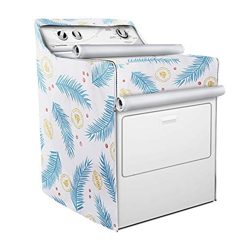 Washer/Dryer Cover,Fit for outdoor top-load and front load machine,Zipper design for easy use,Waterproof Dustproof Moderately Sunscreen(W29D28H40in,Blue Plume)