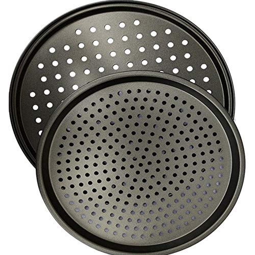1 piece Pizza Pans Carbon Steel Perforated Baking Pan With Nonstick Coating Round Pizza Crisper Tray Tools Bakeware Set Cooking Acces ()