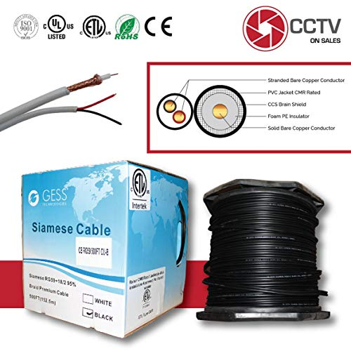 CCTVOnSales RG59 500FT Siamese Combo Coaxial Solid Bare Copper Black, 20AWG Video Plus 18/2 Copper Power Cable, cm, CMX, CMR Rated ETL Listed (Siamese Cable Full Copper 500FT Black)