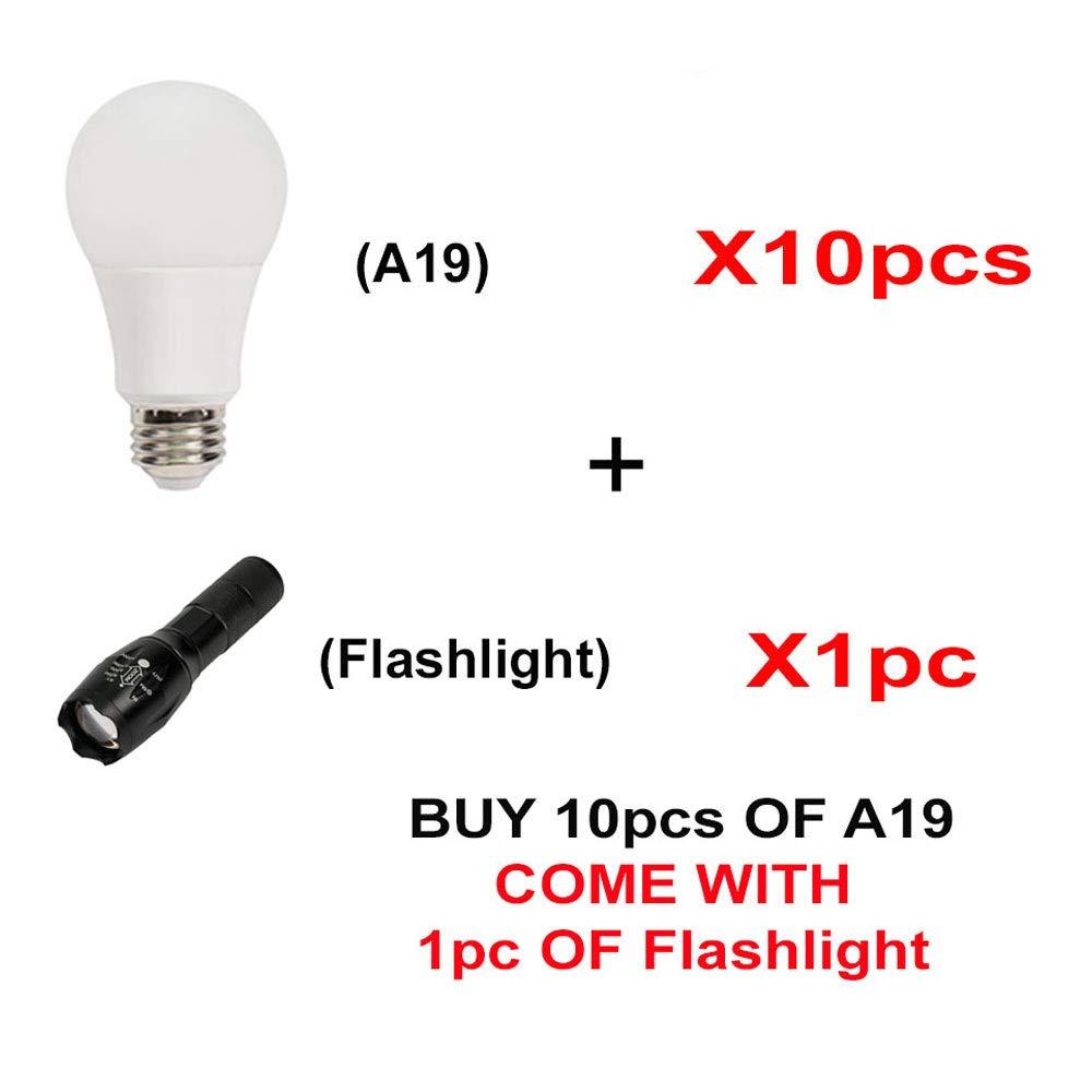 AmazingLED ™ 10個パック12 W 120 V ( AC ) ( 75 W相当) a19標準LED電球、1050ルーメン 10 Pack RA19G-9-491D x 10 pcs + LL-AF-00 B01N220EB1 Bright White W/ Flashlight 10 Pack