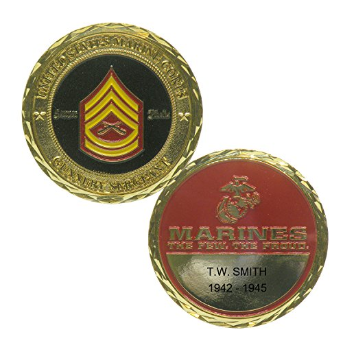 Personalized Custom Engraved US Marine Corp Gunnery Sergeant E-7 Premium Brass Antique with Enamel - Challenge Coin - Medallion - 1 7/8 inch (45mm) Round - Marine Corps Gunnery