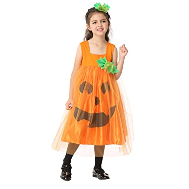 Drizzle Girls Halloween Costumes Fairytale Cosplay Dress Up Pumpkin for Kids(Ages 3-11  sc 1 st  Amazon.com : pumpkin girl costume  - Germanpascual.Com