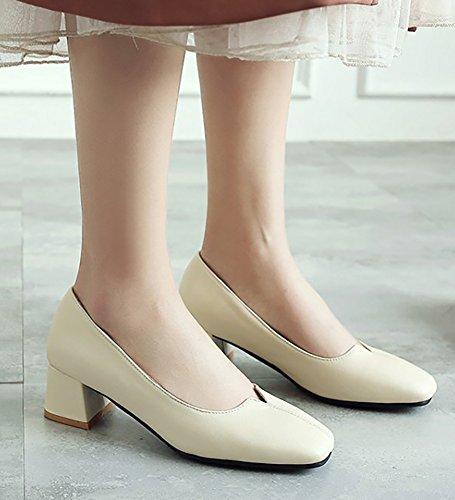 Aisun Donna Comfort Semplice Punta Quadrata Low Dressy Blocco Tacco Medio Slip On Pumps Scarpe Beige
