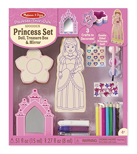 Melissa & Doug Decorate-Your-Own Wooden Princess Set Craft Kit - Doll, Treasure Box, and Mirror ()