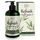 Refresh Massage Oil with Eucalyptus & Peppermint Essential Oils - Great for Massage Therapy. Stress Relief & All Natural Muscle Relaxer. Ideal for Full Body Massage - Nut Free Formula 8.5oz