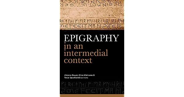 Amazon.com: Epigraphy in an intermedial context ...