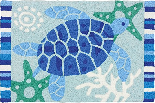 Jellybean Indoor Outdoor Machine Washable Rug, Blue Sea Turt