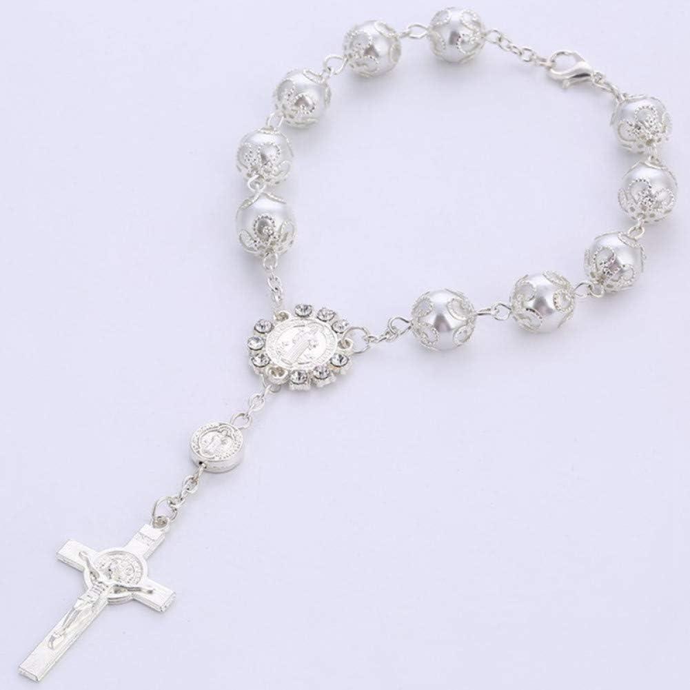 DMUEZW Joyas Católicas Regalo de la Copa de la Santa Comunión Cruz Crucifijo Colgantes Perlas de imitación Rosario Pulsera Joyas de aleación