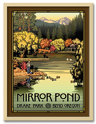 Northwest Art Mall Mirror Pond Autumn Professionally Framed Wall Decor by Paul Leighton. Print Size: 18