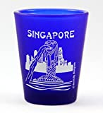 Singapore Merlion Fountain Cobalt Blue Frosted Shot