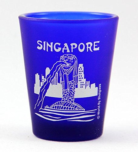 Frosted Imprinted Glass - Singapore Merlion Fountain Cobalt Blue Frosted Shot Glass